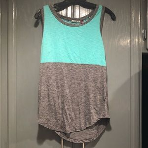 SO Tank Top Mesh Back Gray and Mint Color